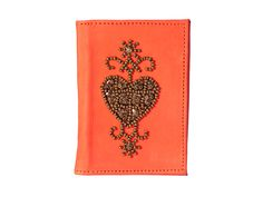 Pearls and sequins hand embroidered leather card holder by Pascale Théard