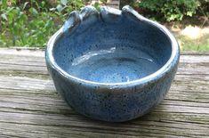 blue ceramic bowl decorative edge pottery by brookhousepottery, $20.00