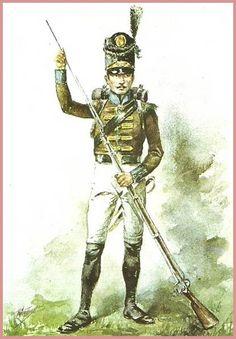 Portugal - Portugal Arthuro 1790-1833 - Les costumes militaires -SOLDADO DO 4º BATALHÃO DE CAÇADORES BEIRA 1811