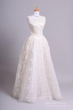 1950 Satin Lace Vintage Wedding Gown : Mill Crest Vintage