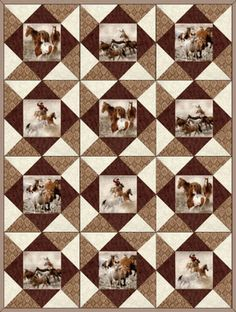 HORSE ROUND UP Precut Quilt Blocks Kit