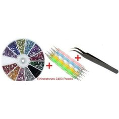 So Beauty Colorful Rhinestones 1pcs Nail Art Tweezer and 5pcs 2 Way Marbleizing Dotting Pen Set >>> See this great product. (This is an affiliate link) #FootHandNailCare