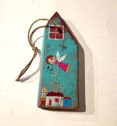 pezzo di legno dipinto/decorato