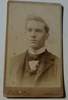"""ATLANTA PHOTOGRAPHER, C.W. MOTES, 34 WHITEHALL ST., ATLANTA, GA. CARTE DE VISITE (CDV) OF AN EMORY COLLEGE STUDENT GRADUATE, CLASS OF 1894. SIGNED ON THE BACK BY S. P. WIGGINS. """"TRUE FRIENDS ARE FEW. LET US BE FAITHFUL, A.T.O."""" From the J. Fred Rodriguez Atlanta Collection."""