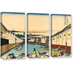 ArtWall Katsushika Hokusai Nihonbashi in Edo 3-Piece Gallery-Wrapped Canvas Set, Size: Oversized 41 inch+, Blue