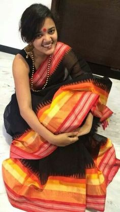 Gaurang: black khadi saree