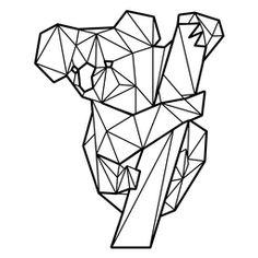 Koala colgando de un árbol poligonal Geometric Quilt, Geometric Drawing, Geometric Decor, Geometric Designs, Geometric Shapes, Geometric Animal, Animal Stencil, Polygon Art, Paper Piecing