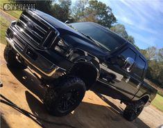 1 2005 F 250 Ford Rough Country Suspension Lift Xd Monster Matte Black Lifted Trucks For Sale, New Pickup Trucks, Lifted Ford Trucks, Truck Rims And Tires, Wheels And Tires, Country Trucks, Powerstroke Diesel, Black Wheels, Diesel Trucks