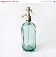 SALE 15  OFF Vintage Light Green Seltzer Bottle  by wwvintage, $72.25