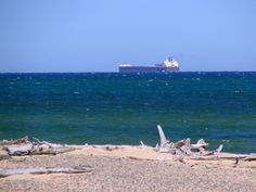 Whitefish Point, MI - a freighter traveling west, Lake Superior..... it's gorgeous out there.