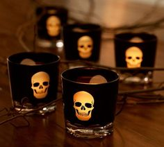 Skull Votive Cup - contemporary - holiday decorations - Pottery Barn