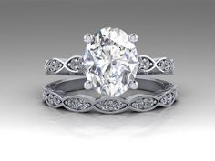 White Gold Leaves Engagement Set / Natural Diamond Wedding Set / 14K White Gold Forever One Moissanite Bridal Set / RE00189W #ring #jewelry #engagement #design #armante #esty