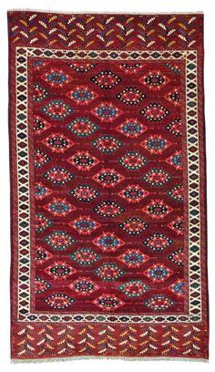 """Yomut Turkmen """"C"""" göl main carpet, 9ft. 9in. x 3ft. 10in. (296x117cm), Turkmenistan ca. 1850"""