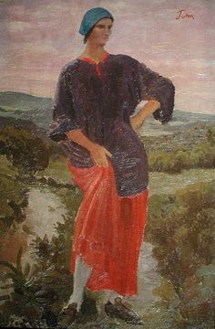 Augustus Edwin John - Dorelia in a Landscape (1916)
