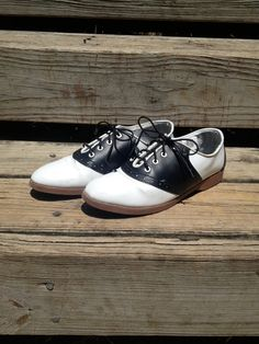 Vintage 90s Black and White Lace Up Flat by AllTheMissingPieces, $25.00