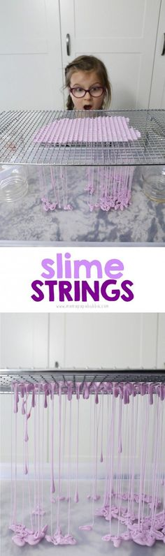 Slime Strings Using a Cooling Rack | Mama.Papa.Bubba.
