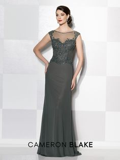 Cameron Blake - 215636 - Cap sleeve chiffon and lace slim A-line gown, illusion bateau neckline, hand-beaded sweetheart bodice, sweep train. Matching shawl included. Sizes: 4 – 20 Colors: Gunmetal, Black