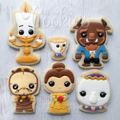 "552 Me gusta, 44 comentarios - cREEative Cookies by Ree  (@creeative_cookies) en Instagram: ""Kawaii version of #BeautyandtheBeast characters.   #creeativecookies #decoratedcookies…"""