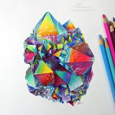 This crystal was drawn with copic markers and Polychromos pencils and took around 7 hours to draw. I made a progess video for those who didn't see it. Unique Drawings, 3d Drawings, Beautiful Drawings, Fire Drawing, Manga Drawing, Crystal Drawing, Polychromos, Color Pencil Art, Sacred Art