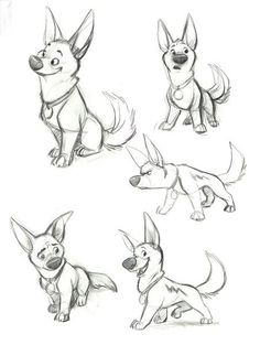 Character design - sketches of characters showing poses & posture - bolt character design animation Character Design Cartoon, Character Design Animation, Character Design References, Character Drawing, Character Sketches, Character Model Sheet, Comic Character, Disney Sketches, Disney Drawings