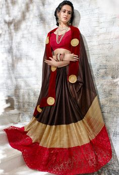 #Brown #Jacquard,Faux #Georgette #Designer #Saree #nikvik  #usa #designer #australia #canada #freeshipping #dress #saris