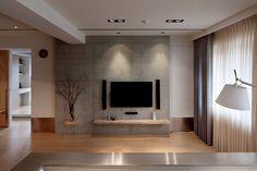 清水模電視牆(右側為主臥暗門) 來自 Jiehwen - DECOmyplace 居家誌 Home Design Decor, House Design, Interior Design, Home Decor, Living Tv, Living Rooms, Study Table Designs, Tv Wall Design, Grey Room