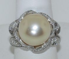 Crivelli 18 KT White Gold Diamond and South Sea Pearl Ring | eBay