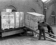 1950. Delivery of new Intertype linecasters for the composing room of the Amsterdam newspaper Het Parool. Photo AHF Collectie IISG / Ben van Meerendonk. #amsterdam #1950 #hetparool
