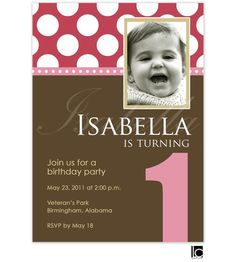 Pink and chocolate birthday invitation  Brand: Lauren Chow Designs  Product Type: Invitation-Photo  Item Number: LCIN533  Description: This design features a number and pink and white polka dots with a chocolate background.