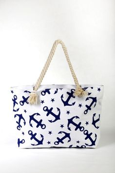 """Τσάντα για τη Θάλασσα, αλλά και για τα ψώνια σας - υφασμάτινη """"Άγκυρες"""" Tote Bag, Bags, Fashion, Handbags, Moda, Fashion Styles, Totes, Fashion Illustrations, Bag"""