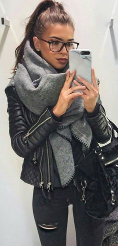#winter #fashion /  Black Leather Jacket + Grey Scarf + Black Suede Tote Bag + Ripped Skinny Jeans