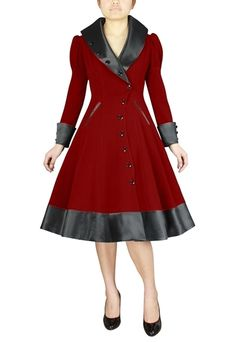 Plus Size Pin Up Clothing Trench Coat Red Vintage Inspired 1950s