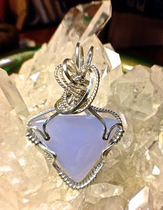 SMALL CHALCEDONY Wire Wrapped Pendant Argentium by CrawfordStones