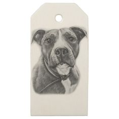 Drawing of Pit Bull Dog Animal Art Wooden Gift Tags - drawing sketch design graphic draw personalize