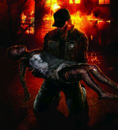 Silent Hill Origins - Travis carrying burned Alessa after rescuing her in the fire