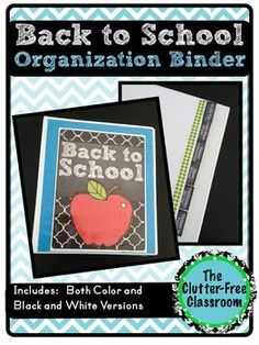 """This 45 page packet contains printables to create a Back to School Organization Binder. Included you'll find... -Binder Covers -Spine inserts for 1"""", 1.5"""" and 2"""" binders -4 different designs of tabs -divider pages -instructions for assembly -ideas for using the binder"""