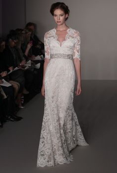 new Jim Hjelm wedding dresses fall 2012  Like the neckline, sleeves and jeweled waste--bottom a little too table-cloth?