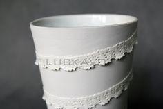 Princess- porcelain decoration by lace Lace Vase, Planter Pots, Porcelain, Pure Products, Princess, Elegant, Luxury, Decoration, Classy