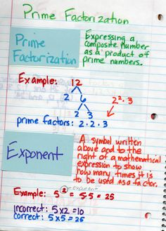 Smith's Interactive Notebook--Prime factorization and exponents Math Notebooks, Interactive Notebooks, Math Resources, Math Activities, Fun Math, Maths, Composite Numbers, Prime Factorization, Prime Numbers