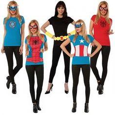 Superhero Tee Adult Costume T-Shirt & Mask Halloween Fancy Dress  $15.69  $30.59  (56 Available) End Date: Nov 012016 07:59 AM GMT-07:00