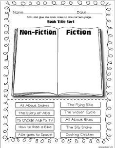 """Non-Fiction sort…how to make a construction paper flip book (first, next, then, last…can also be used with Power Writing """"hamburgers"""") and more! Reading Lessons, Reading Strategies, Reading Skills, Teaching Reading, Reading Comprehension, Reading Genres, Guided Reading, Math Lessons, Fiction Vs Nonfiction"""