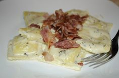 Cheese in My Macaroni: Cheese Ravioli Carbonara