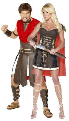Costume di coppia di gladiatori romani: a Carnevale o per una sfilata storica sull'Antica Roma, questo travestimento di coppia di gladiatori vi renderà protagonisti dell'evento!