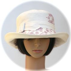 TRAVELLER - 100% hemp summercloth with cherry blossom print - Rosehip Hat Studio