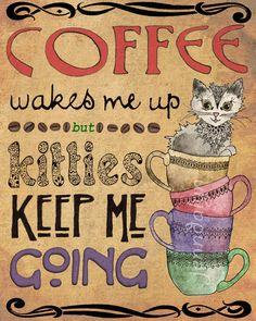 coffee poster coffee cups print kitties cat lover gift 8 x 10 PRINT art nouveau poster kitchen art decor. $18.00, via Etsy.