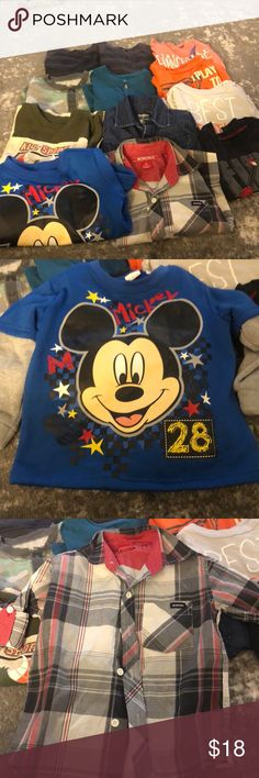 Toddler Boys Shirts 3T All in great condition All size 3T 1 sweater 2 button up long sleeve 2 short sleeve 7 long sleeve 12 tops total  Buy 2 or more of my kids listings and I will take $5 off Shirts & Tops