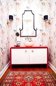 Chinoiserie powder room, perky powder room, red, birds, black lampshades