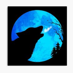 Hunter's Blue Moon Wolf Wolf Silhouette, Symbolic Art, Hunter S, Wolf Howling, Blue Moon, Gnomes, Vector Art, Mystic, Digital Art