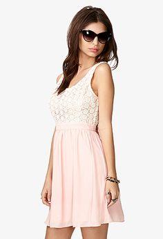 Crocheted Bodice Chiffon Dress | FOREVER21 - 2027893795