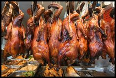 hanging roasted ducks